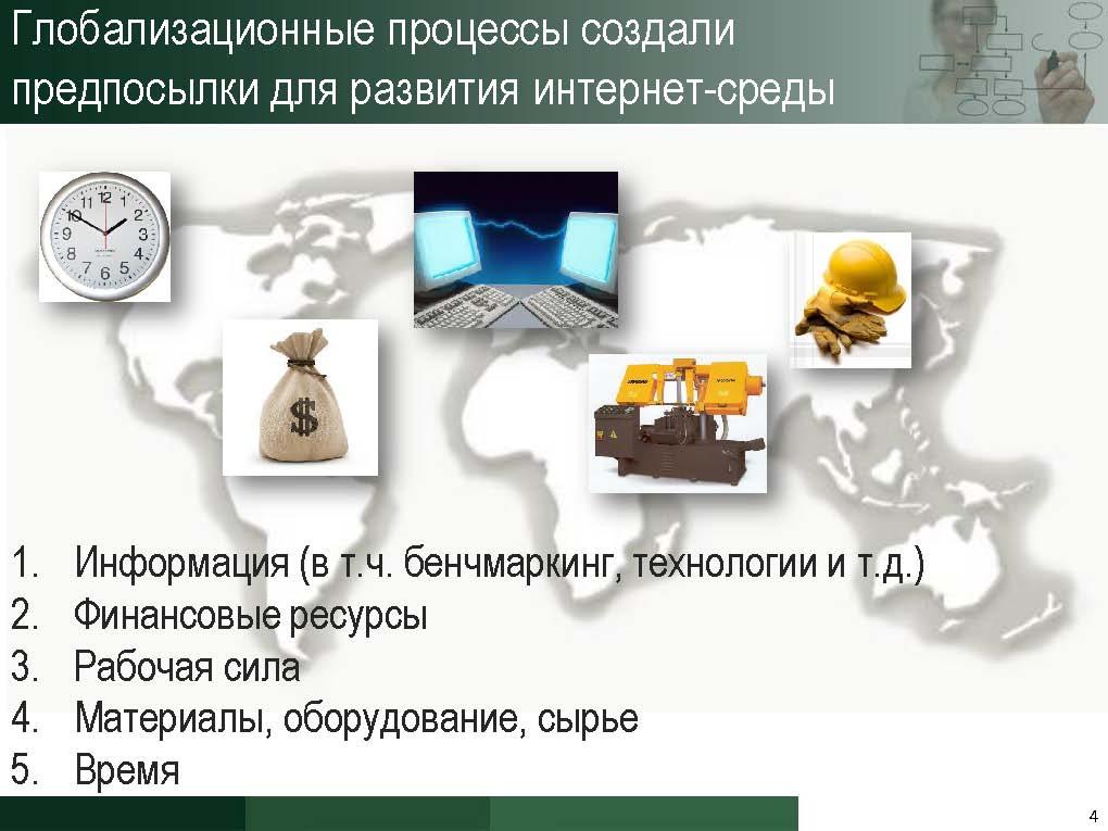Глобализационные процессы создали предпосылки для развития интернет-среды