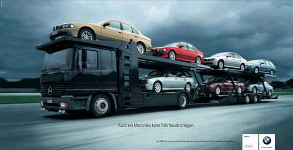 Even Mercedes Can Deliver Driving Pleasure (Даже Мерседес способен доставить удовольствие от езды – рекламный слоган компании BMW)
